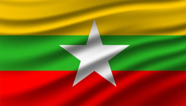 Vlag van myanmar achtergrond sjabloon.