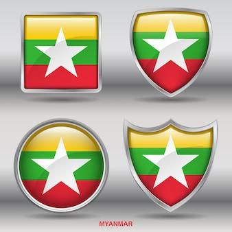 Vlag van myanmar bevel 4 vormen pictogram