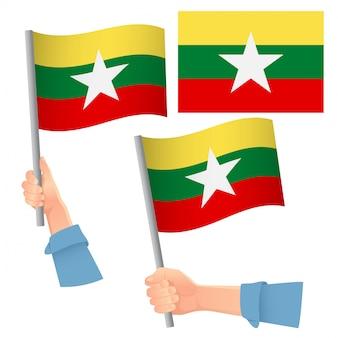 Vlag van myanmar in de hand ingesteld