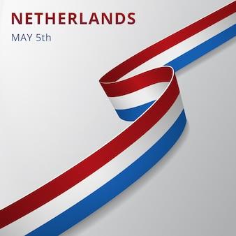 Vlag van nederland. 5 mei. vector illustratie. golvend lint op grijze achtergrond. onafhankelijkheidsdag. nationaal symbool. grafisch ontwerpsjabloon.