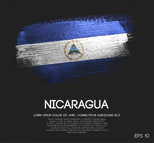 Vlag van nicaragua gemaakt van glitter sparkle brush paint