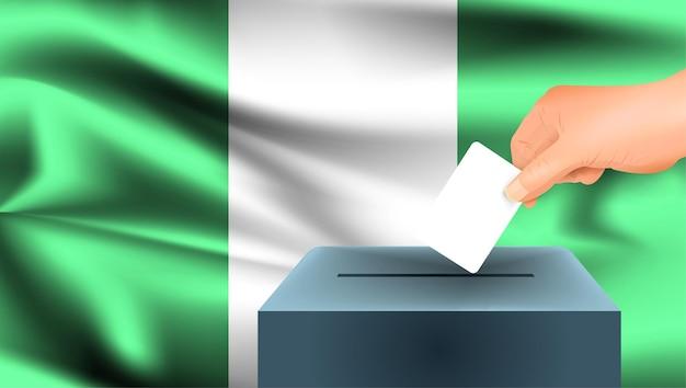 Vlag van nigeria, mannenhand stemmen met nigeria vlag concept idee achtergrond
