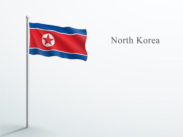Vlag van noord-korea 3d-element zwaaien op stalen vlaggenmast