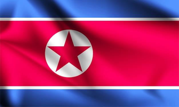 Vlag van noord-korea zwaaien