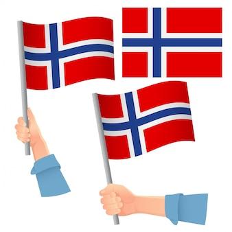 Vlag van noorwegen in de hand set