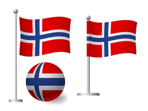 Vlag van noorwegen op het pictogram van de paal en de bal