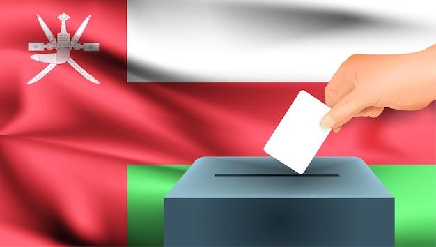 Vlag van oman, mannenhand stemmen met oman vlag concept idee achtergrond