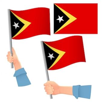 Vlag van oost-timor in de hand set