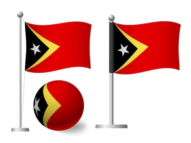 Vlag van oost-timor op het pictogram van de paal en de bal