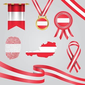 Vlag van oostenrijk in verschillende vormen met kaart & wimpel & medaille & lint & vingerafdruk