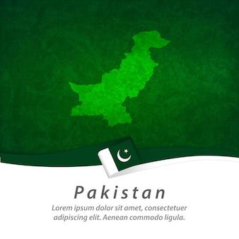 Vlag van pakistan met centrale kaart