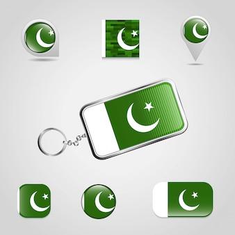 Vlag van pakistan met creatief ontwerp vector