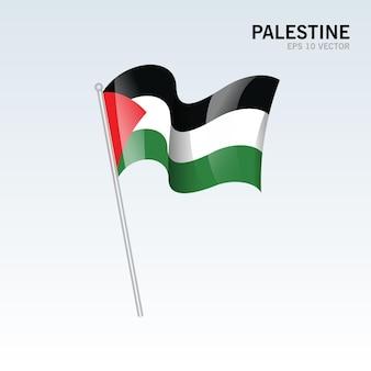 Vlag van palestina zwaaien geïsoleerd op grijs