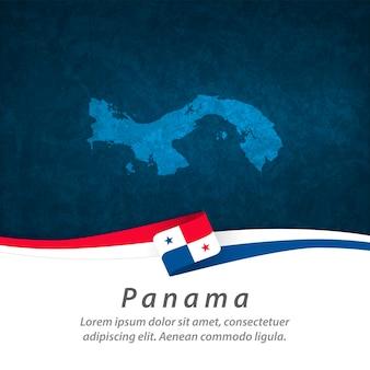 Vlag van panama met centrale kaart