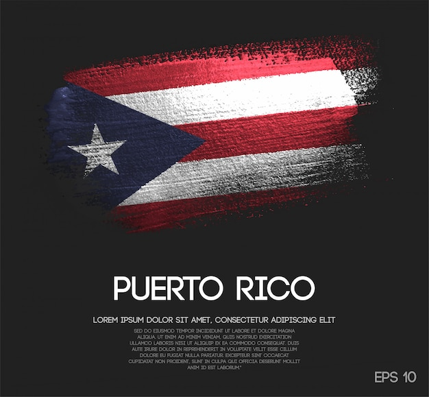 Vlag van puerto rico gemaakt van glitter sparkle brush verf vector