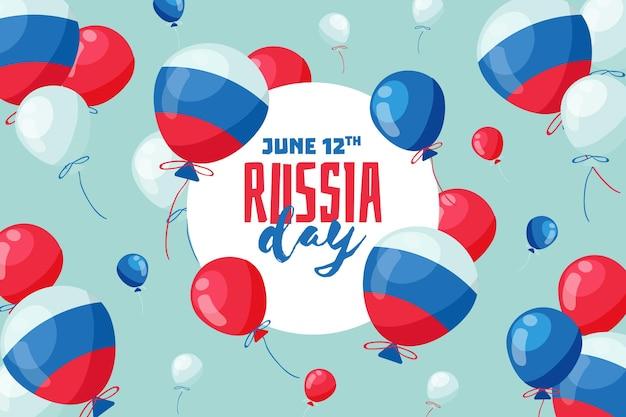 Vlag van rusland op ballonnen achtergrond