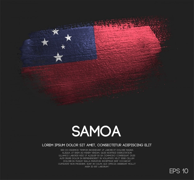Vlag van samoa gemaakt van glitter sparkle brush paint