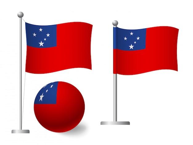 Vlag van samoa op het pictogram van de paal en de bal