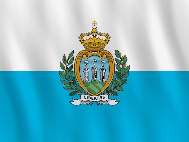 Vlag van san marino met golvend effect, officiële verhouding.