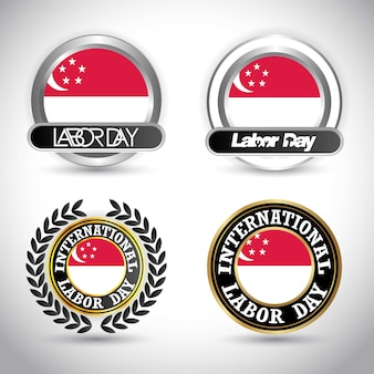 Vlag van singapore met arbeidsdag ontwerp vector