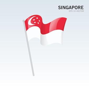 Vlag van singapore zwaaien geïsoleerd op grijs