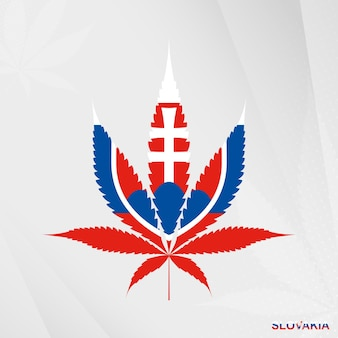 Vlag van slowakije in de vorm van het marihuanablad. het concept van legalisatie cannabis in slowakije.
