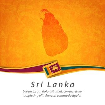 Vlag van sri lanka met centrale kaart