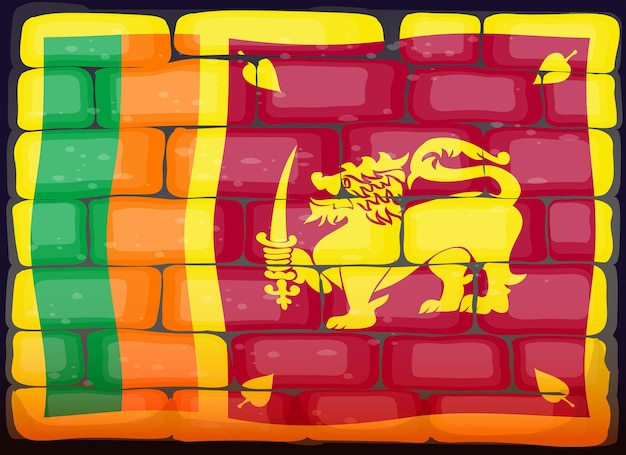 Vlag van sri lanka op brickwall