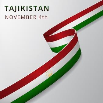 Vlag van tadzjikistan. 4 november. vector illustratie. golvend lint op grijze achtergrond. onafhankelijkheidsdag. nationaal symbool. grafisch ontwerpsjabloon.