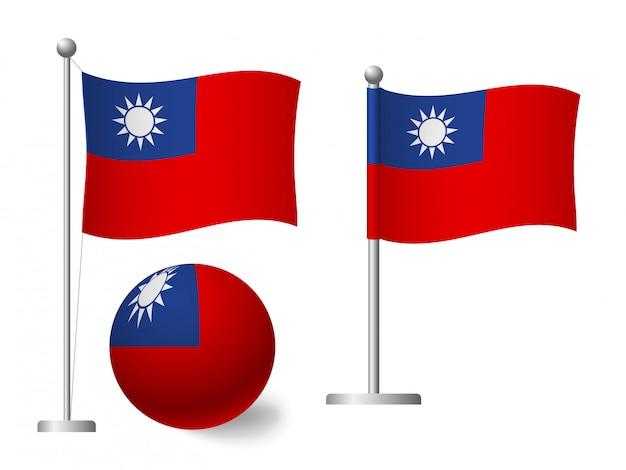 Vlag van taiwan op paal en bal pictogram