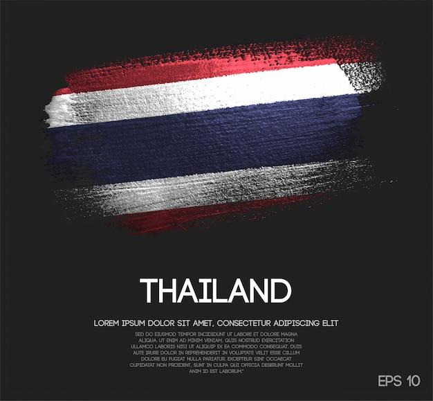 Vlag van thailand gemaakt van glitter sparkle brush paint