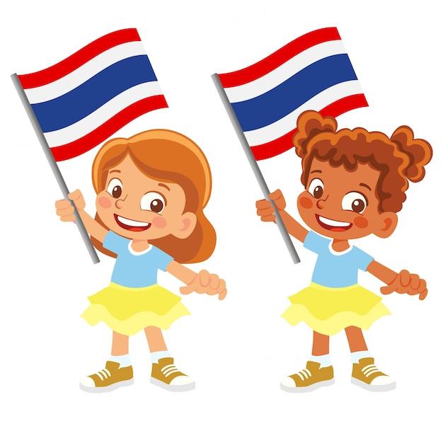Vlag van thailand in de hand ingesteld
