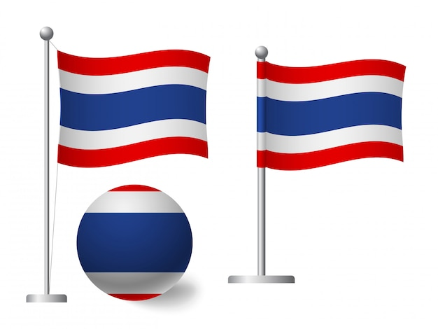 Vlag van thailand op paal en bal pictogram