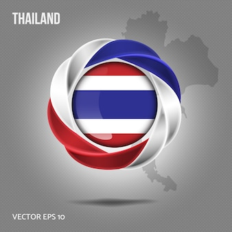 Vlag van thailand pin 3d-ontwerp