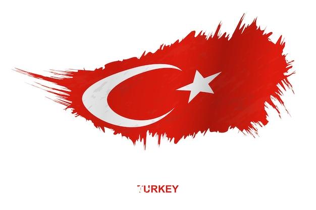 Vlag van turkije in grunge stijl met wuivende ingang, vector grunge penseelstreek vlag.