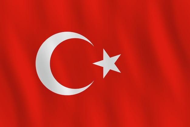 Vlag van turkije met zwaaiend effect, officiële proportie.