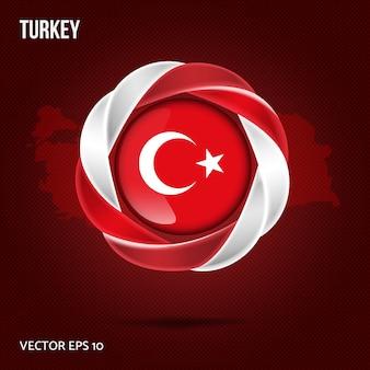 Vlag van turkije pin 3d-ontwerp