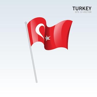 Vlag van turkije zwaaien geïsoleerd op grijs