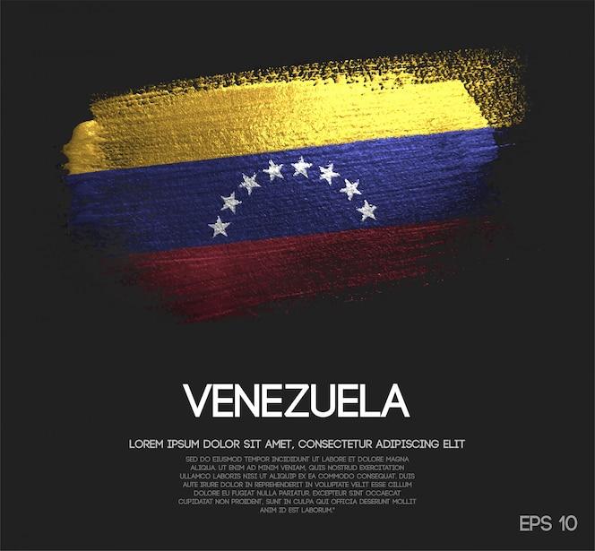Vlag van Venezuela Gemaakt van Glitter Sparkle Brush Paint