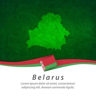 Vlag van wit-rusland met centrale kaart