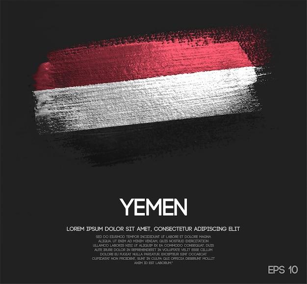 Vlag van yemen gemaakt van glitter sparkle brush verf vector