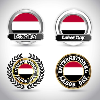 Vlag van yemen met arbeidsdag ontwerp vector