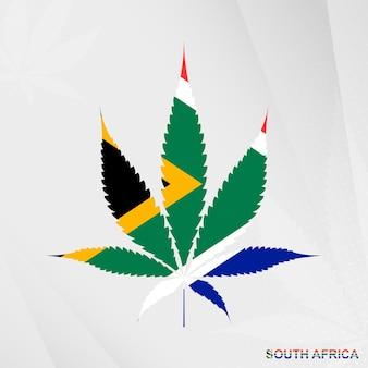 Vlag van zuid-afrika in de vorm van het marihuanablad. het concept van legalisatie cannabis in zuid-afrika.