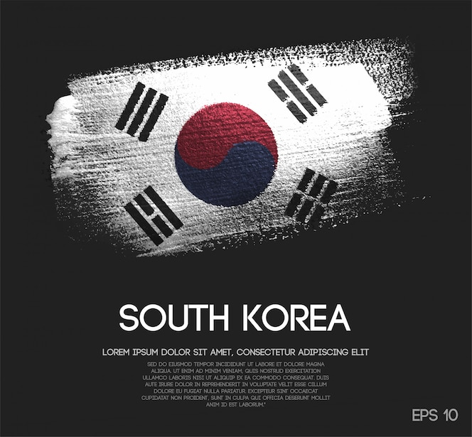 Vlag van zuid-korea gemaakt van glitter sparkle brush paint