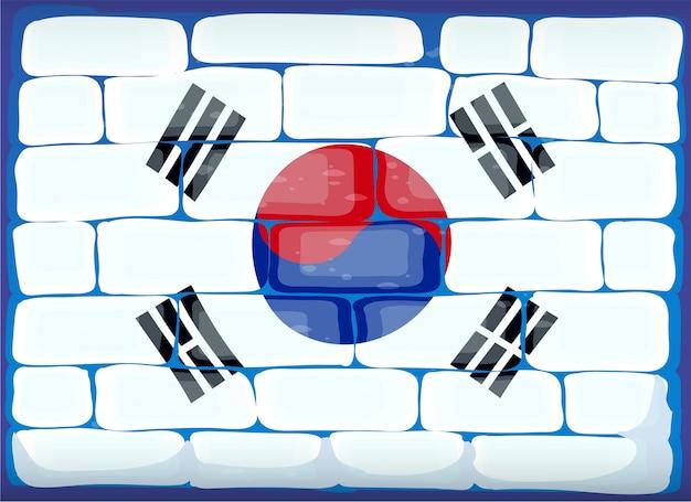 Vlag van zuid-korea geschilderd op bakstenen muur