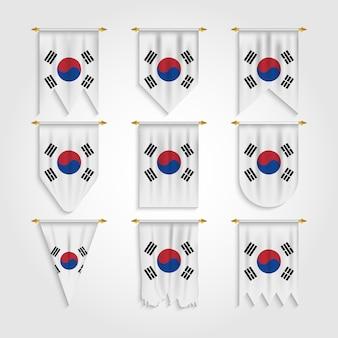 Vlag van zuid-korea in verschillende vormen, vlag van zuid-korea in verschillende vormen