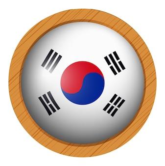 Vlag van zuid-korea op houten frame