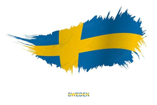 Vlag van zweden in grunge stijl met wuivende ingang, vector grunge penseelstreek vlag.