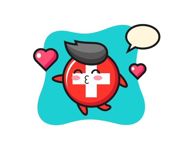 Vlag van zwitserland badge, schattig stijlontwerp voor t-shirt, sticker, logo-element