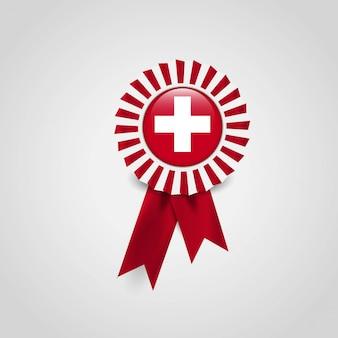 Vlag van zwitserland lint banner badge